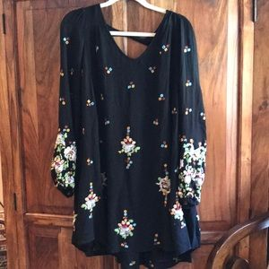 Free People lined dress embroidered flowers